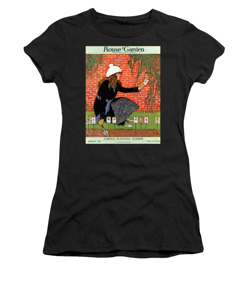 House And Garden Women's T-Shirt featuring the photograph House And Garden Garden Planting Number Cover by Ruth Easton
