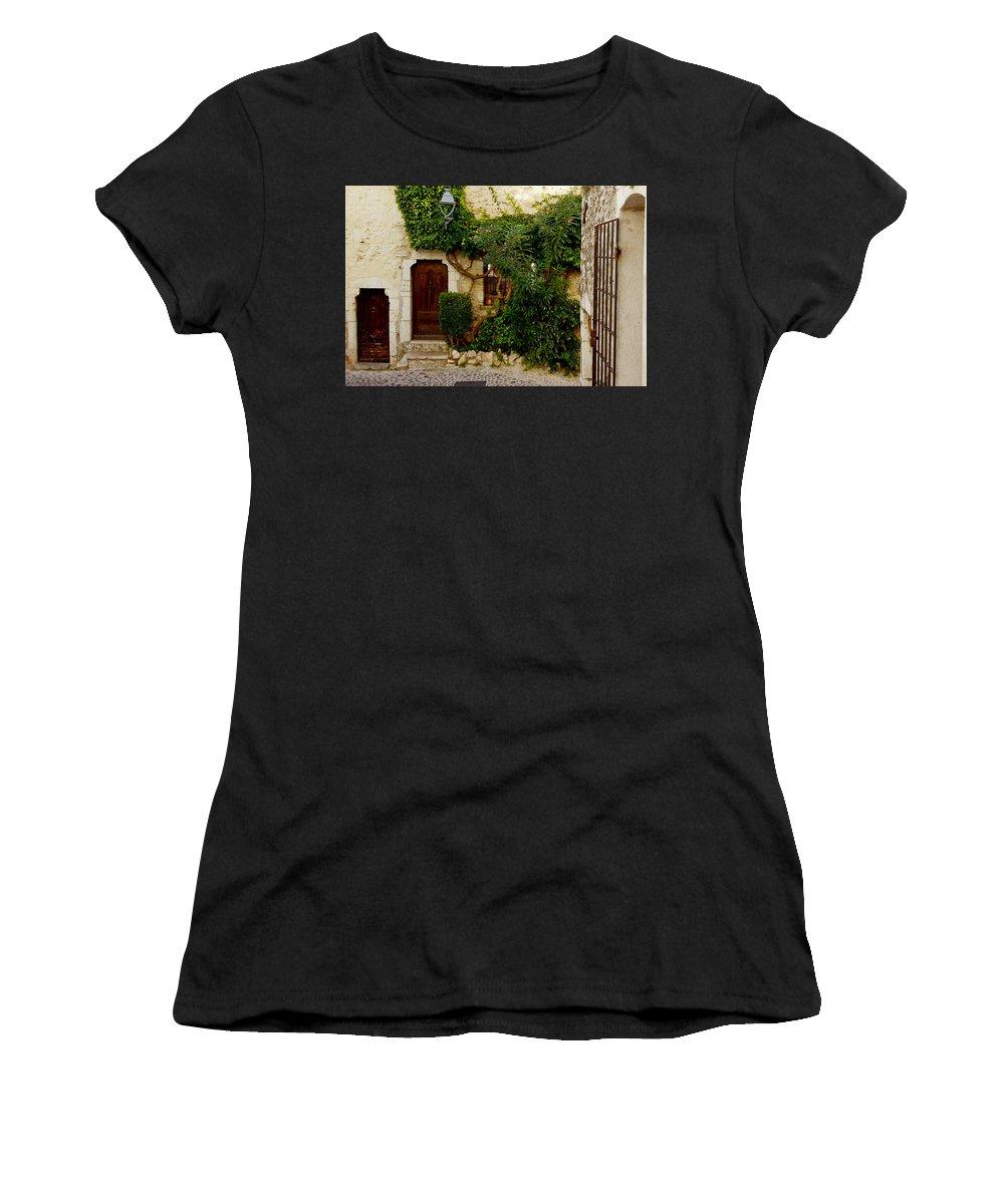 Saint Paul Women's T-Shirt (Athletic Fit) featuring the photograph House Saint Paul De Vence France Dsc02353 by Greg Kluempers
