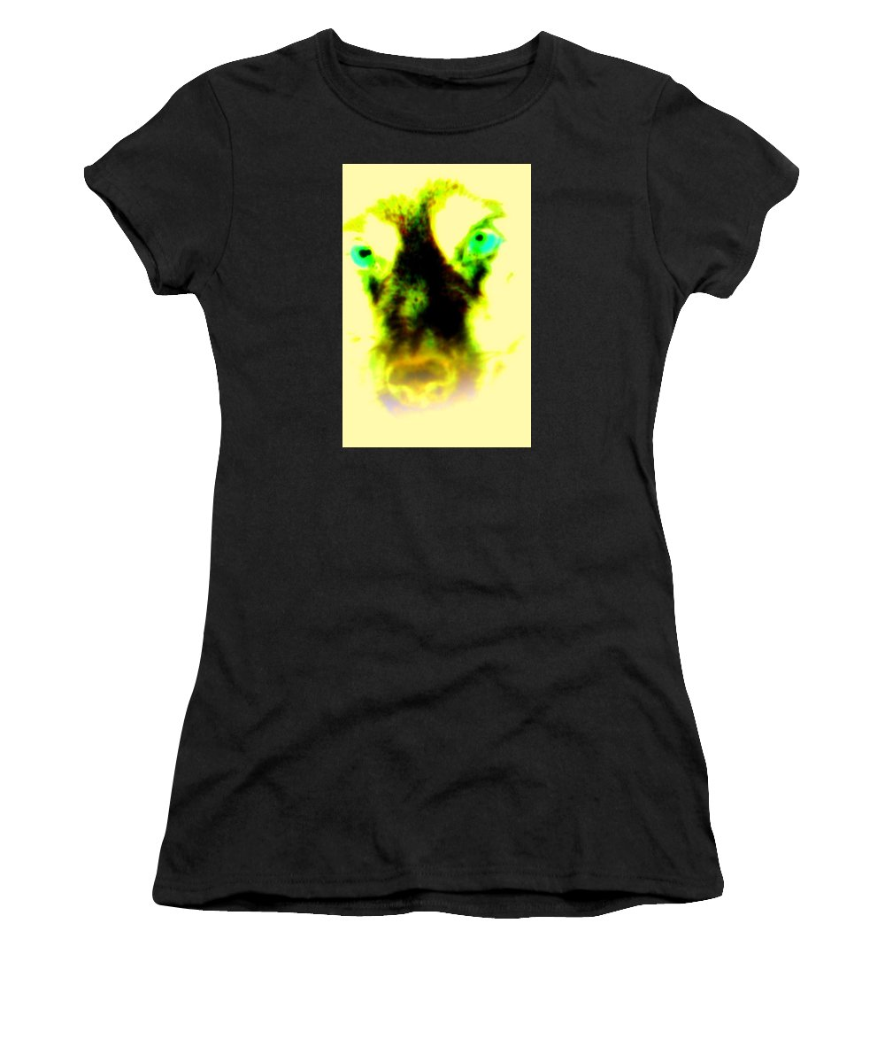 Wolf Women's T-Shirt (Athletic Fit) featuring the photograph The Green-eyed Hulders Wolf by Hilde Widerberg
