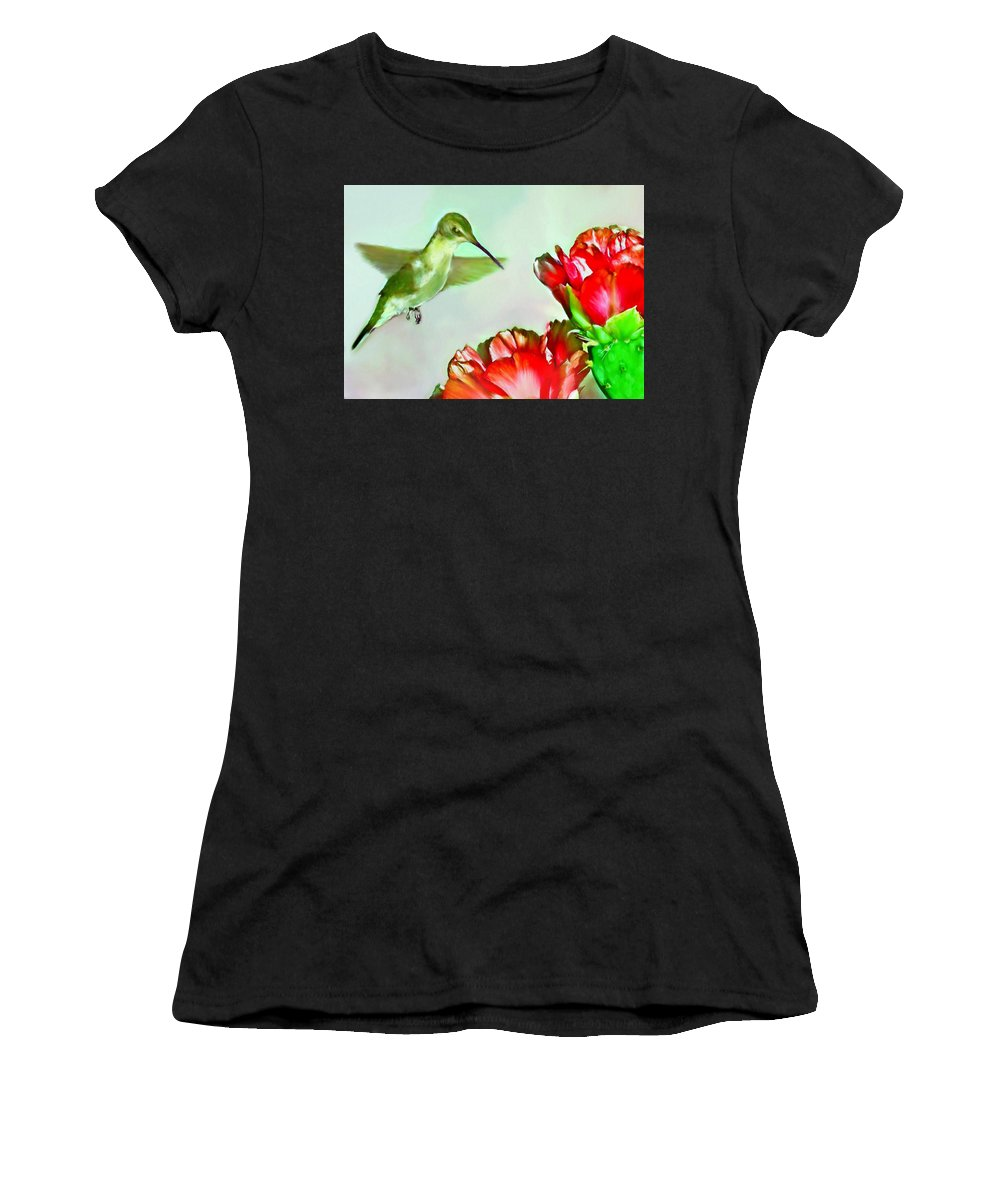 Animal Women's T-Shirt (Athletic Fit) featuring the painting Humming Bird And Cactus Flowers by Bob and Nadine Johnston