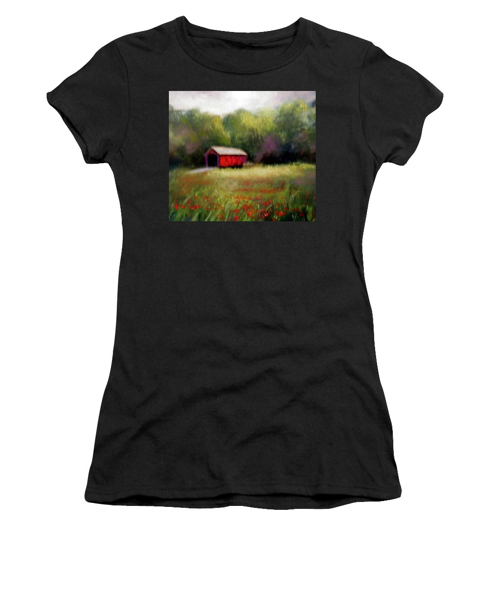 Covered Bridge Women's T-Shirt (Athletic Fit) featuring the painting Hune Bridge by Gail Kirtz