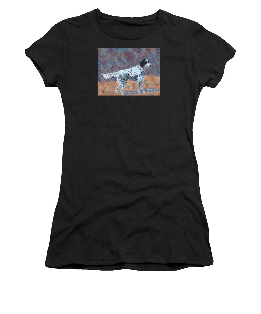 Dogs Women's T-Shirt (Athletic Fit) featuring the painting Hunter On Point by Mary Benke