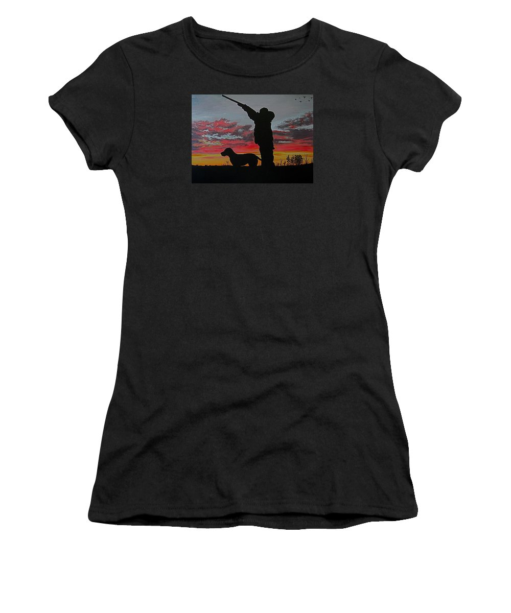 Hunting Women's T-Shirt (Athletic Fit) featuring the painting Hunting At Sunset by Hilari Alsip