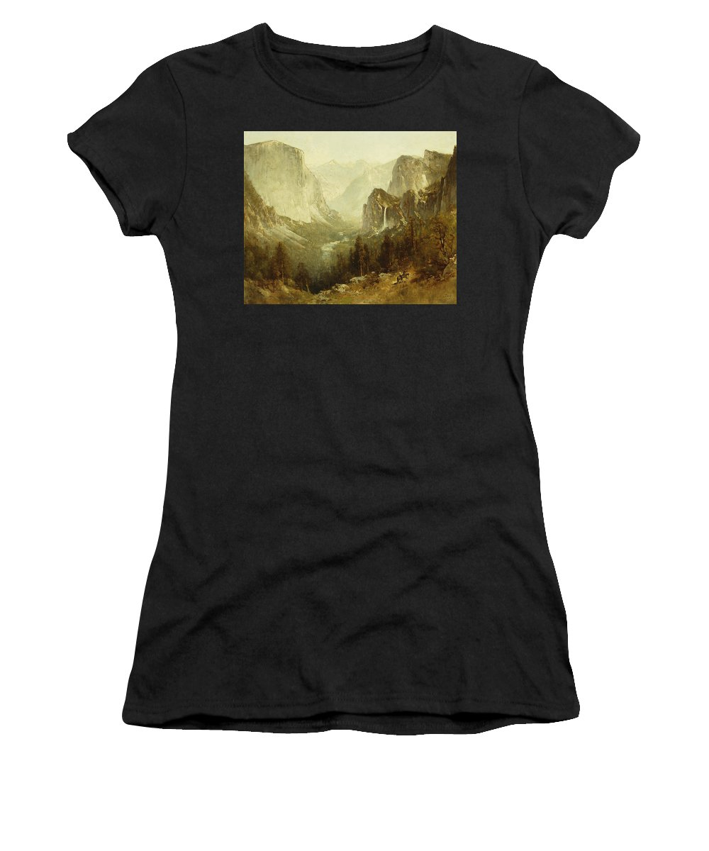 Hunting In Yosemite Women's T-Shirt (Athletic Fit) featuring the painting Hunting In Yosemite by Thomas Hill