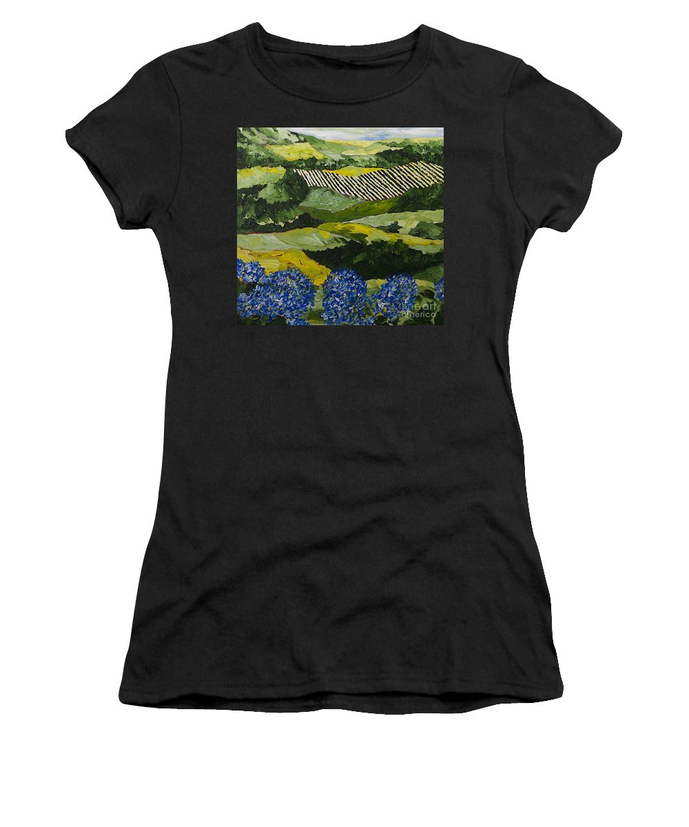 Landscape Women's T-Shirt (Athletic Fit) featuring the painting Hydrangea Valley by Allan P Friedlander