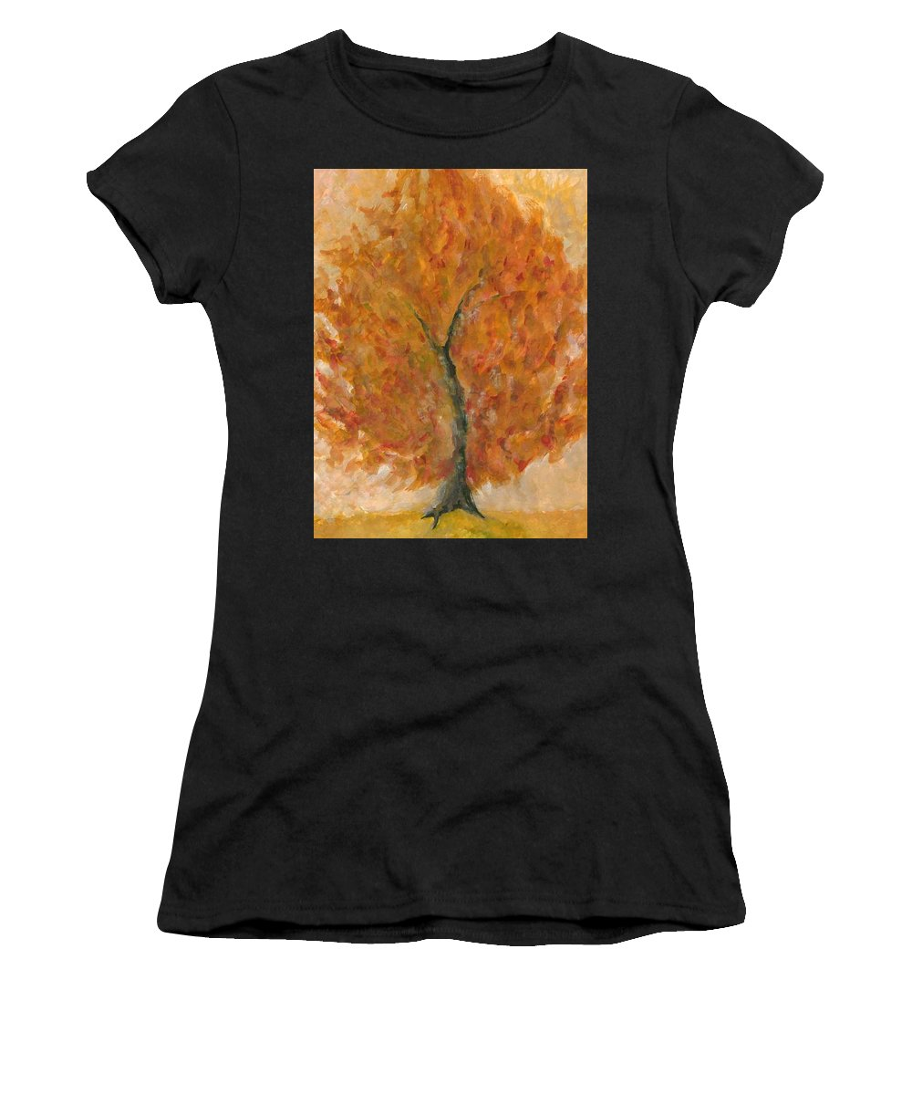 Colour Women's T-Shirt (Athletic Fit) featuring the painting I Bloom by Wojtek Kowalski