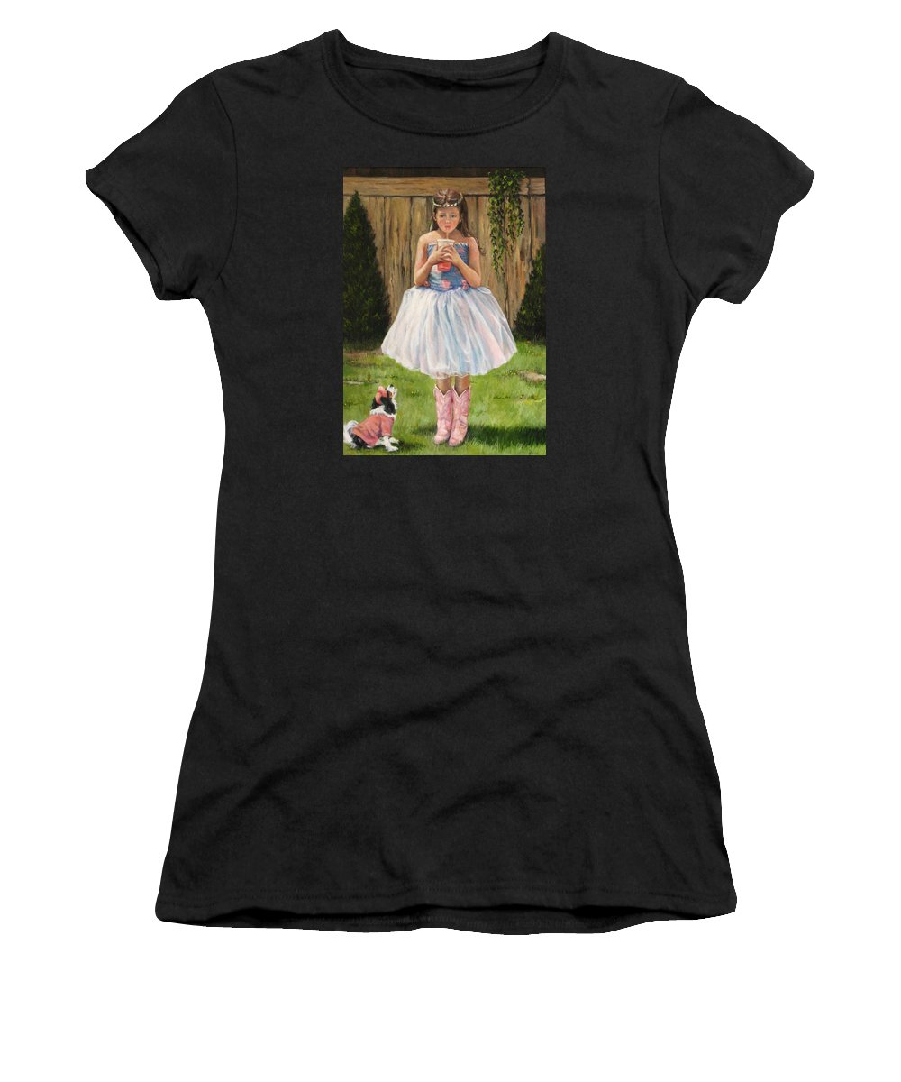 Nature Women's T-Shirt featuring the painting I Dressed Myself by Donna Tucker