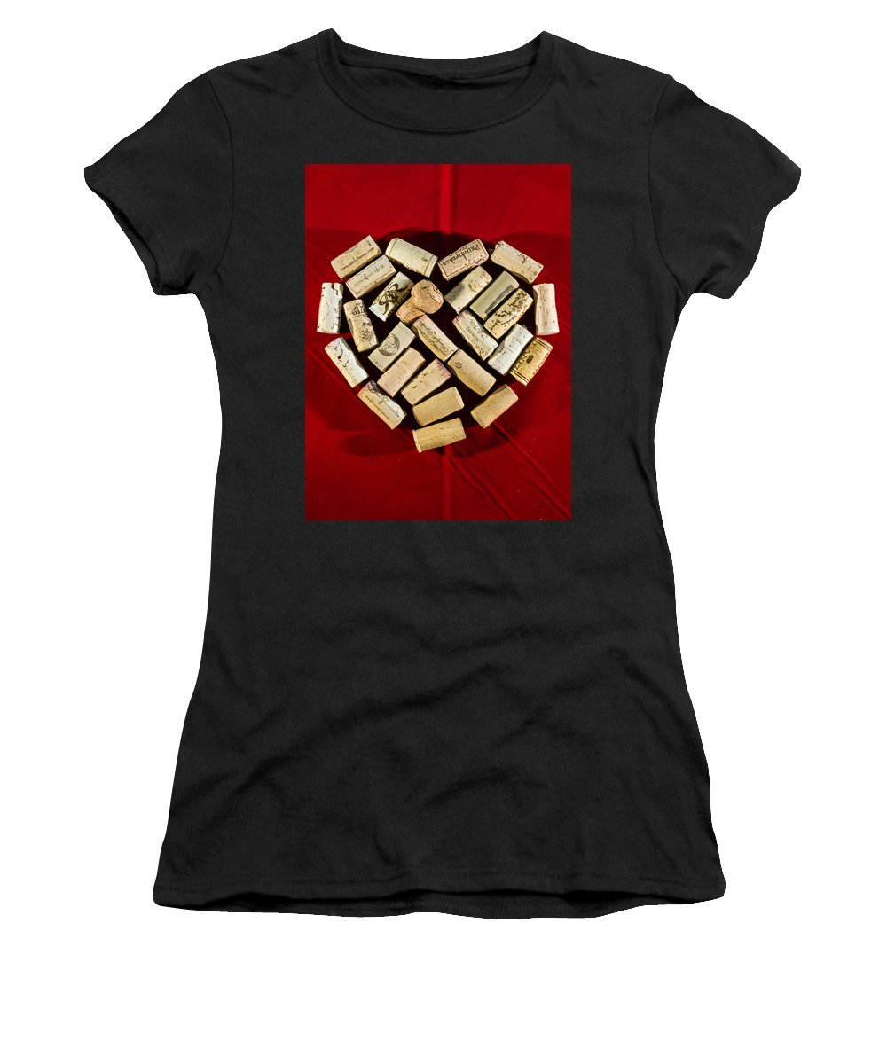 Red Women's T-Shirt (Athletic Fit) featuring the photograph I Love Red Wine - Vertical by Photographic Arts And Design Studio
