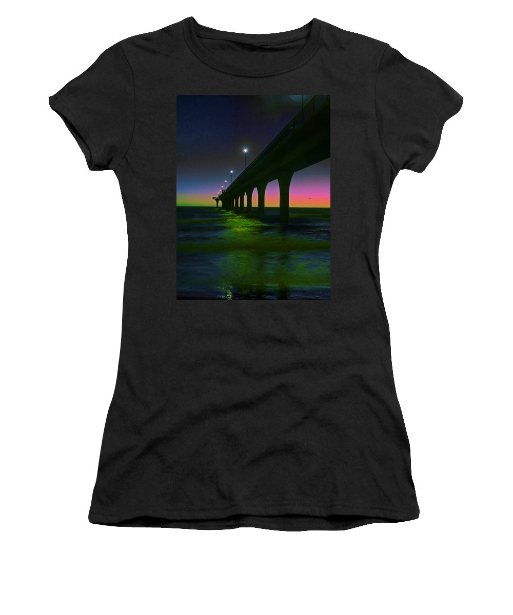New Brighton; New Zealand; Christchurch; Canterbury; South Island; Silhouette; Surf; Waves; Rainbow; Twilight; Sky; Dawn; Sunrise; Day Break; Lampposts; Lights; Lamp; Green; Pier; Pacific; Ocean; Vivid; Multicoloured; Sea; Reflection; Blue; Black; Coast; Columns; East; Indigo Women's T-Shirt featuring the photograph I See Rainbows by Steve Taylor