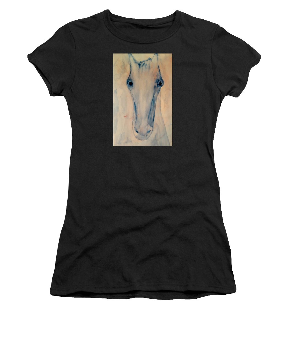 Horse Women's T-Shirt featuring the painting I Will Carry You Anywhere As Long As You Love Me by Hilde Widerberg