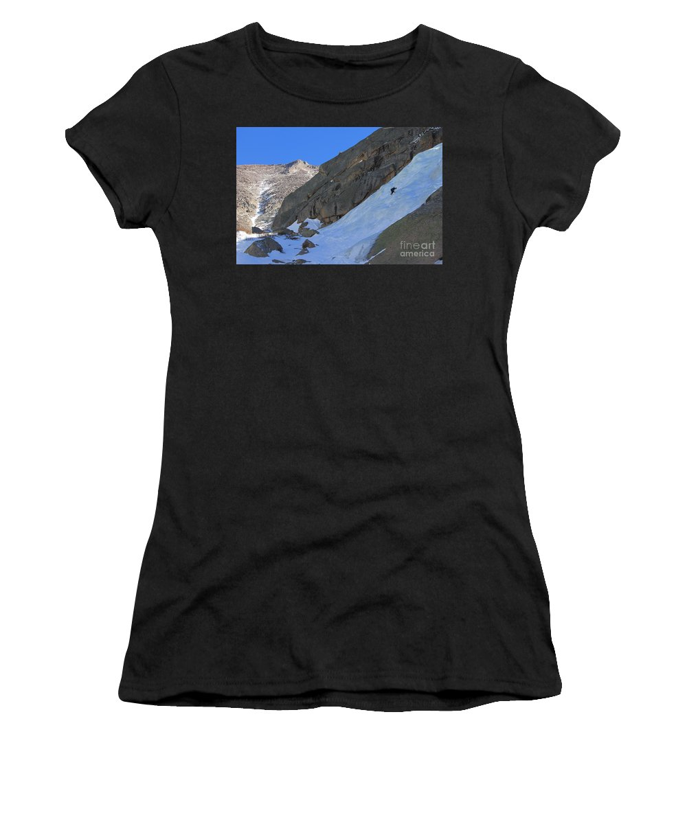 Ice Women's T-Shirt (Athletic Fit) featuring the photograph Ice Climbers In A Stark Contrast by Tonya Hance