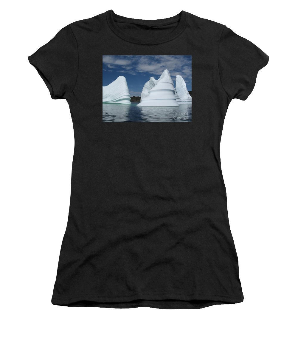 Iceberg Newfoundland Women's T-Shirt (Athletic Fit) featuring the photograph Icebergs by Seon-Jeong Kim