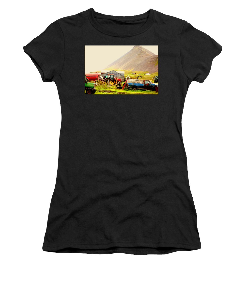 Skiing Women's T-Shirt featuring the photograph come see me at the Icelandic engine park by Hilde Widerberg