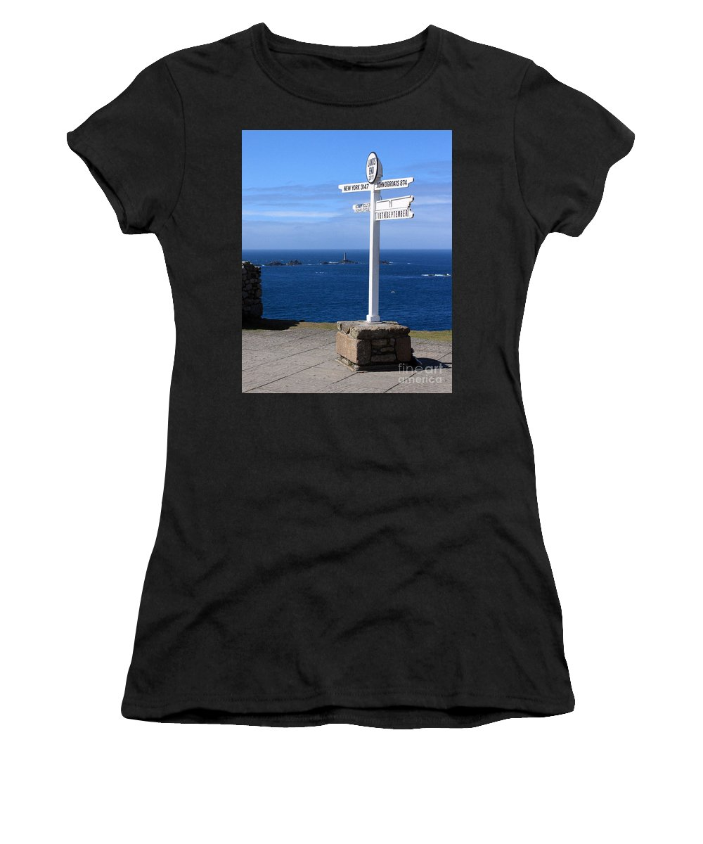 Cornwall Women's T-Shirt (Athletic Fit) featuring the photograph Iconic Lands End England by Terri Waters