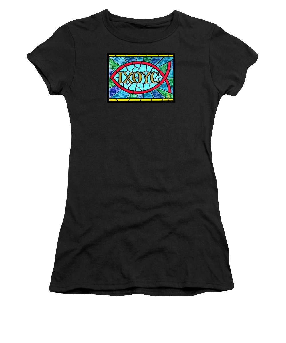 Church Women's T-Shirt (Athletic Fit) featuring the painting Icthus Sign Of The Fish by Jim Harris