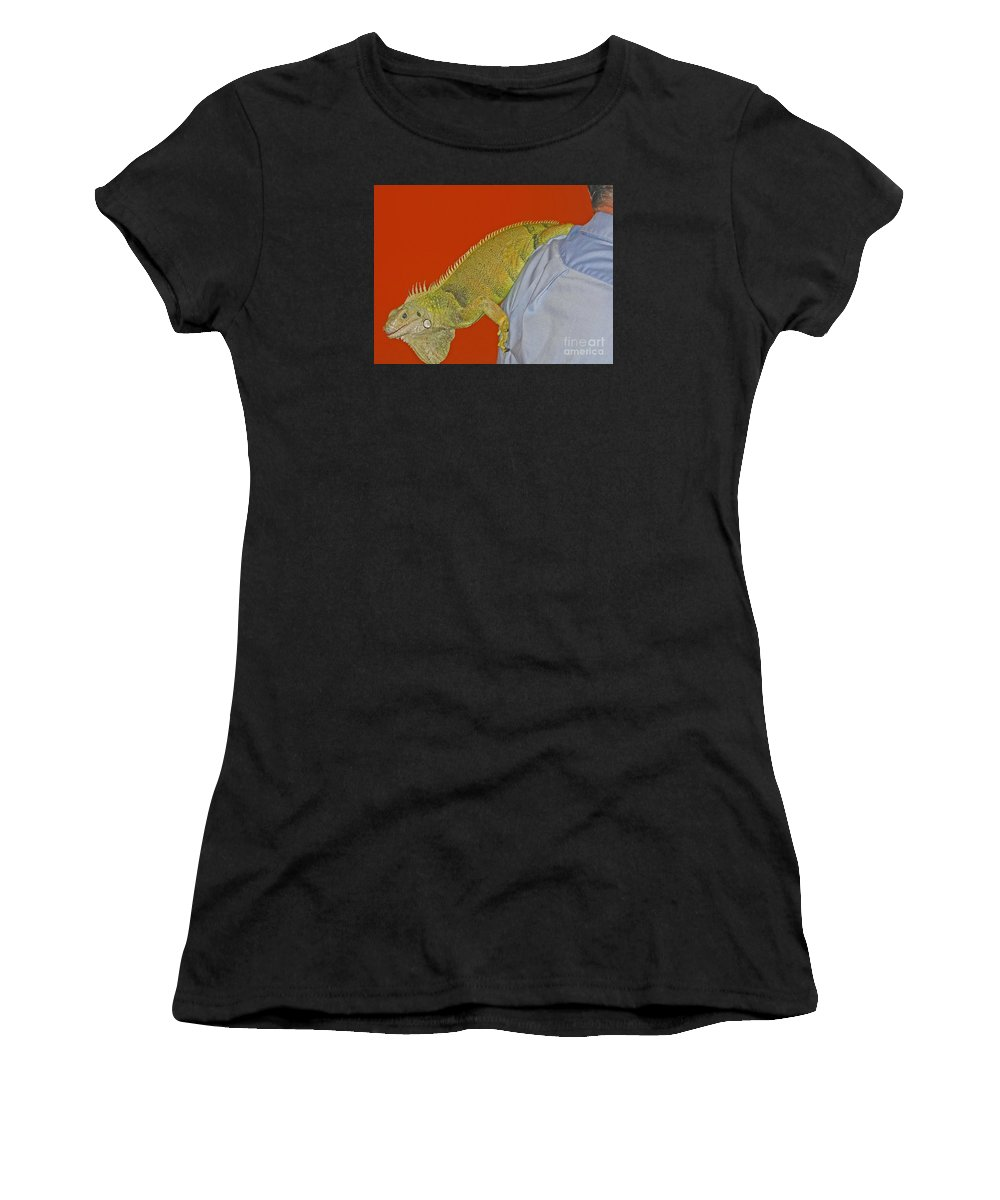 Iguana Women's T-Shirt (Athletic Fit) featuring the photograph Iguana By The Tail by Ann Horn