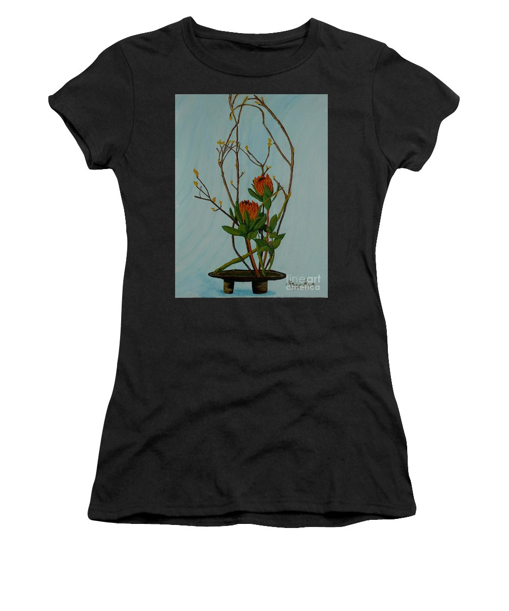 Ikebana Women's T-Shirt (Athletic Fit) featuring the painting Ikebana Dancers by Anthony Dunphy