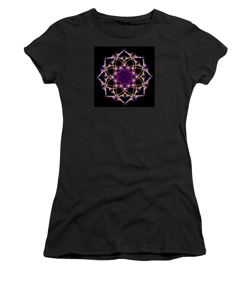 Kaleidoscope Women's T-Shirt (Athletic Fit) featuring the digital art Illuminated by Wendy Wilton