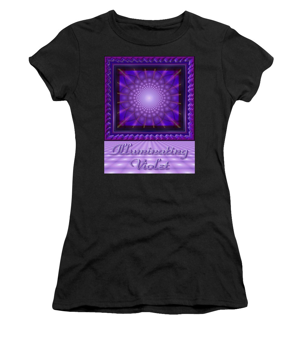 Digital Poster Design Women's T-Shirt (Athletic Fit) featuring the digital art Illuminating Violet by Stephen Lo Piano