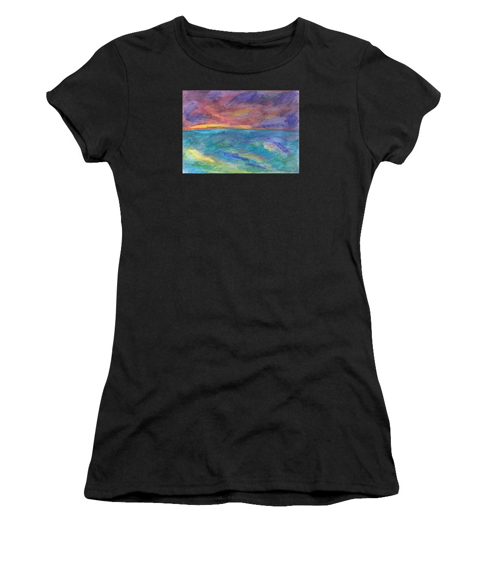 Seascape Women's T-Shirt featuring the painting Impressions Of The Sea 1 by Wendy Le Ber