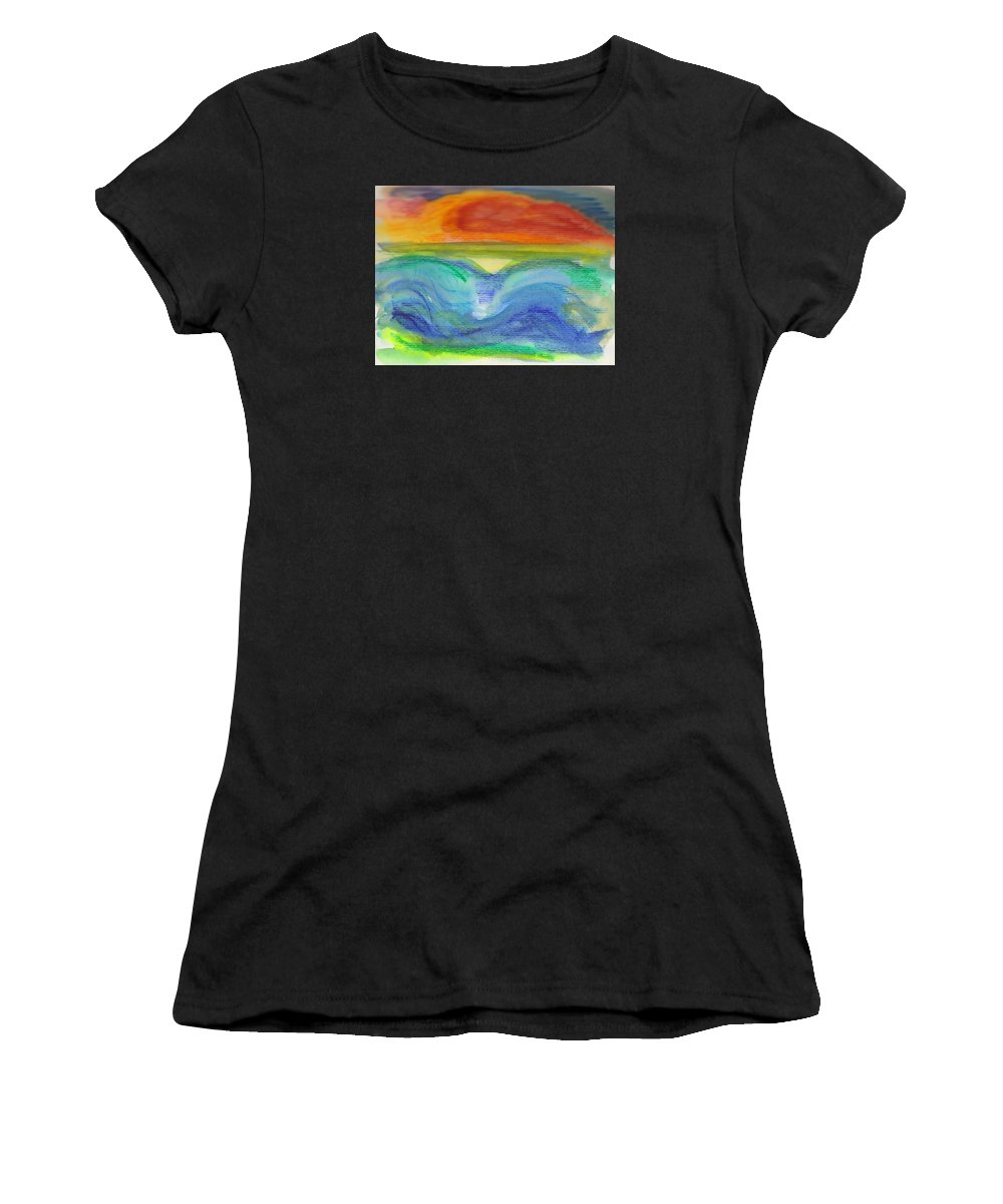 Seascape Women's T-Shirt featuring the painting Impressions Of The Sea 4 by Wendy Le Ber