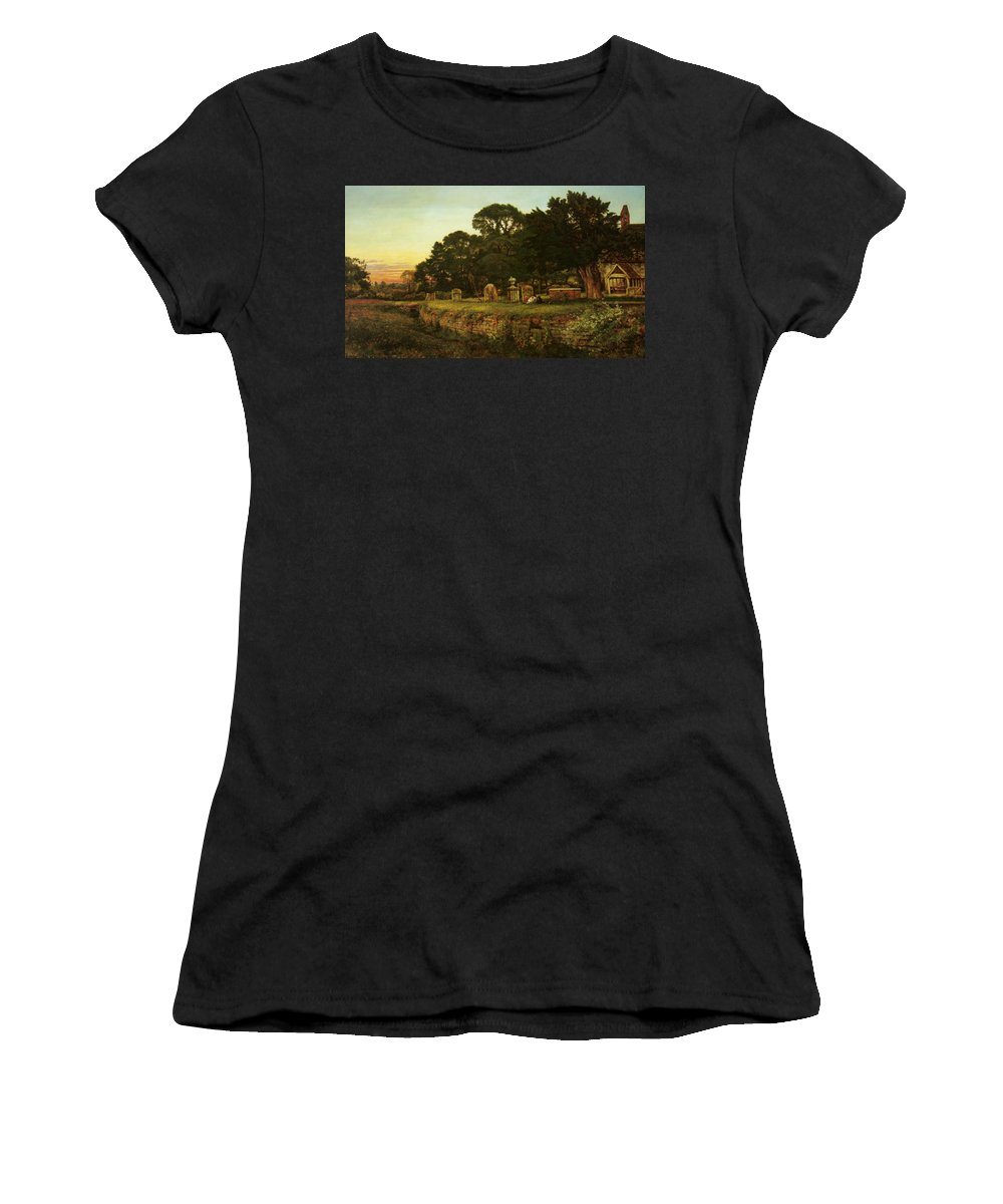 Benjamin Williams Leader Women's T-Shirt (Athletic Fit) featuring the digital art In Country Churchyard Wittington Worcester by Benjamin Williams Leader