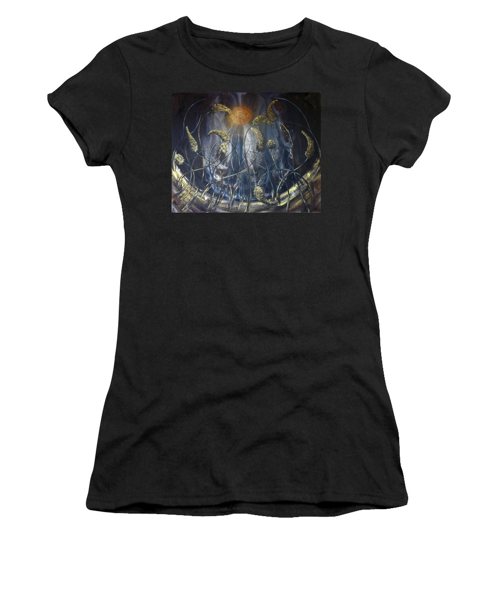 Landscape Women's T-Shirt (Athletic Fit) featuring the painting In Flight by Ann Mikhail