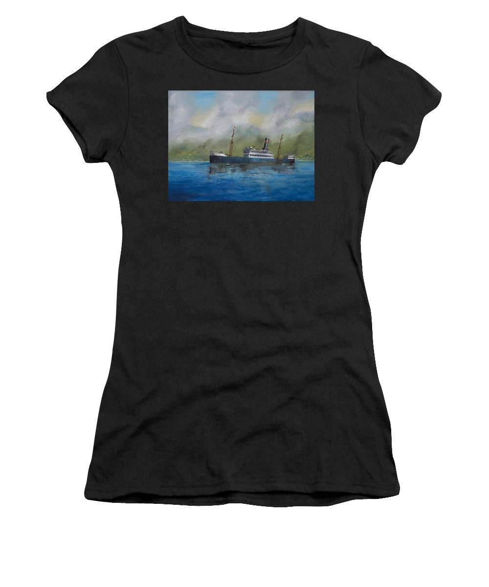 Ship Women's T-Shirt (Athletic Fit) featuring the painting In The Mists Of Martinique by Christopher Jenkins