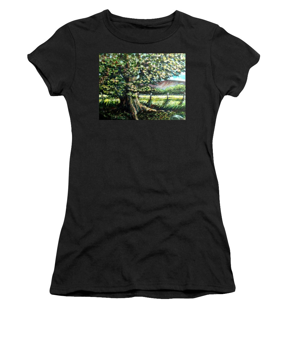 Tree Women's T-Shirt featuring the painting In The Shade by Shana Rowe Jackson