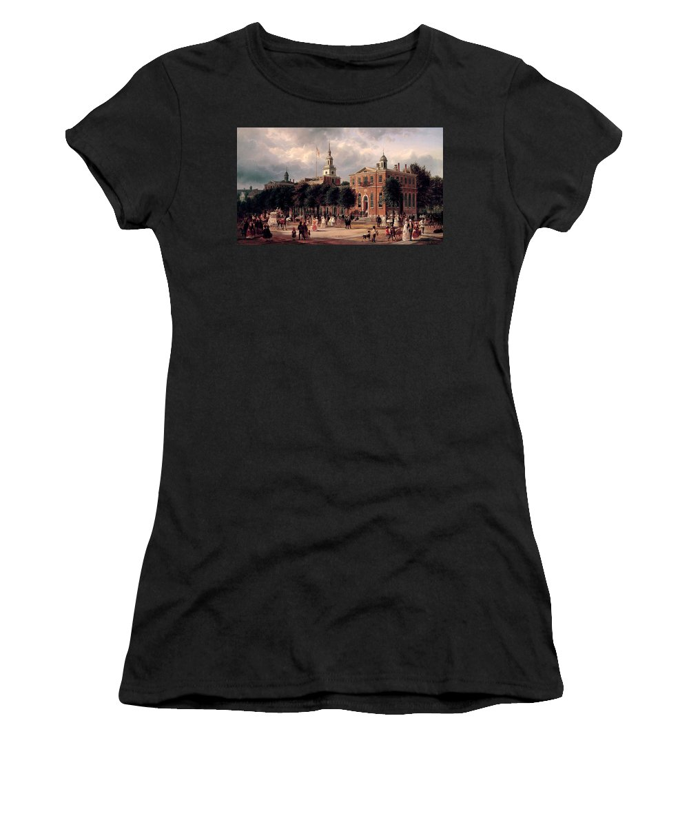 Ferdinand Richardt Women's T-Shirt featuring the painting Independence Hall In Philadelphia by Ferdinand Richardt