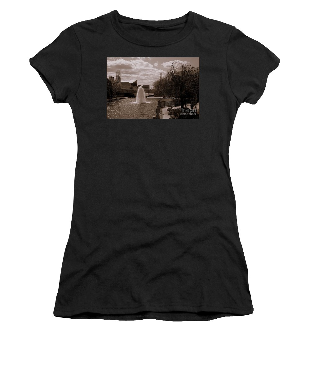 Downtown Indy Canal Women's T-Shirt (Athletic Fit) featuring the photograph Indianapolis Canal by Kitrina Arbuckle