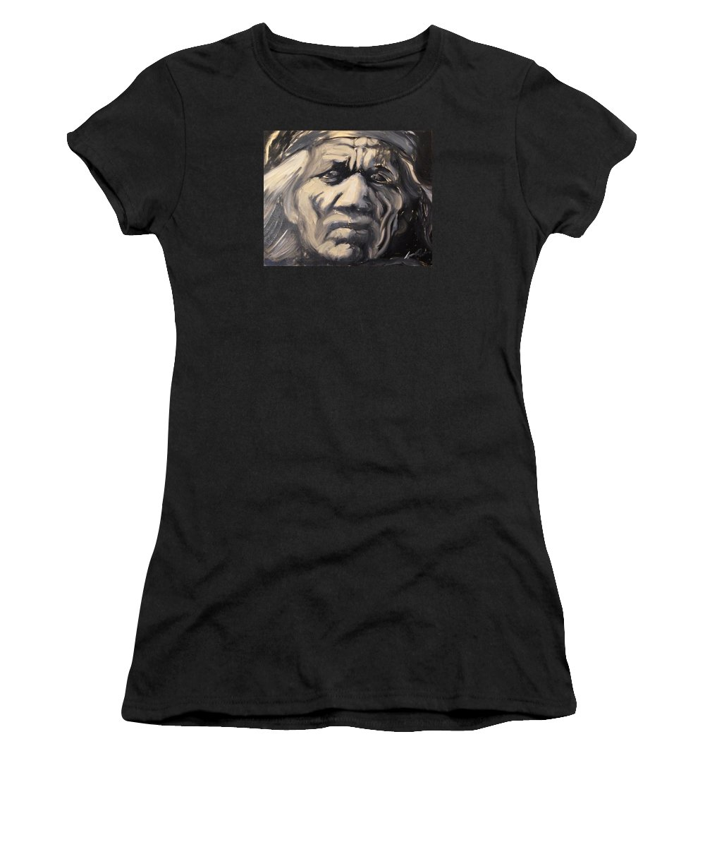 Black And White Women's T-Shirt featuring the painting Indio Indian Black And White Oil Painting by Armando Renteria