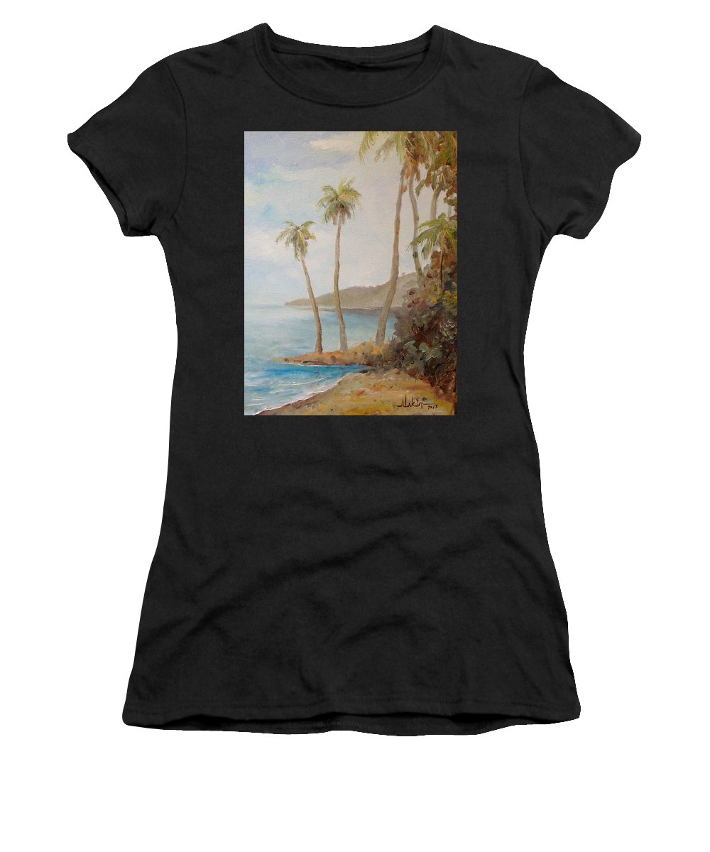 Island Women's T-Shirt featuring the painting Inside The Reef by Alan Lakin