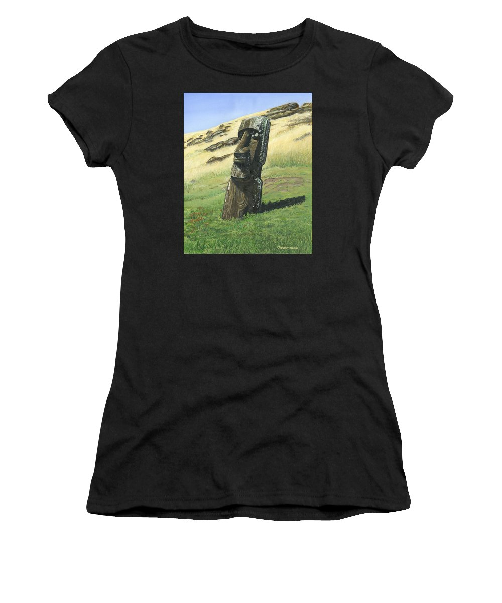 Easter Island Women's T-Shirt featuring the painting Inside The Volcano by Brent Charbonneau