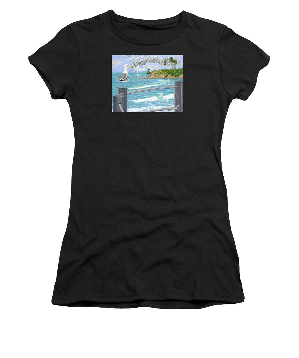 Sea Gull Women's T-Shirt featuring the painting Intensity by John Wilson