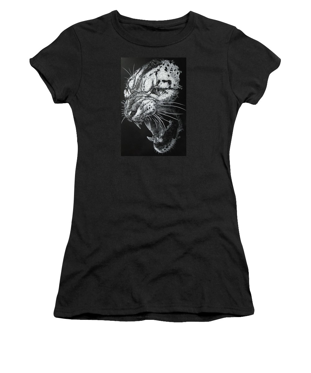 Snow Leopard Women's T-Shirt (Athletic Fit) featuring the drawing Ire by Barbara Keith