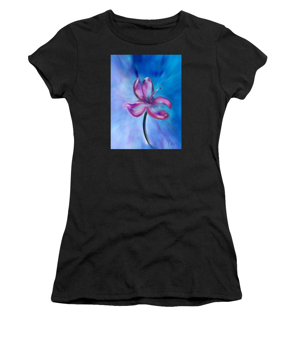 Flower Women's T-Shirt (Athletic Fit) featuring the digital art Iris In Pastel by Frank Bright