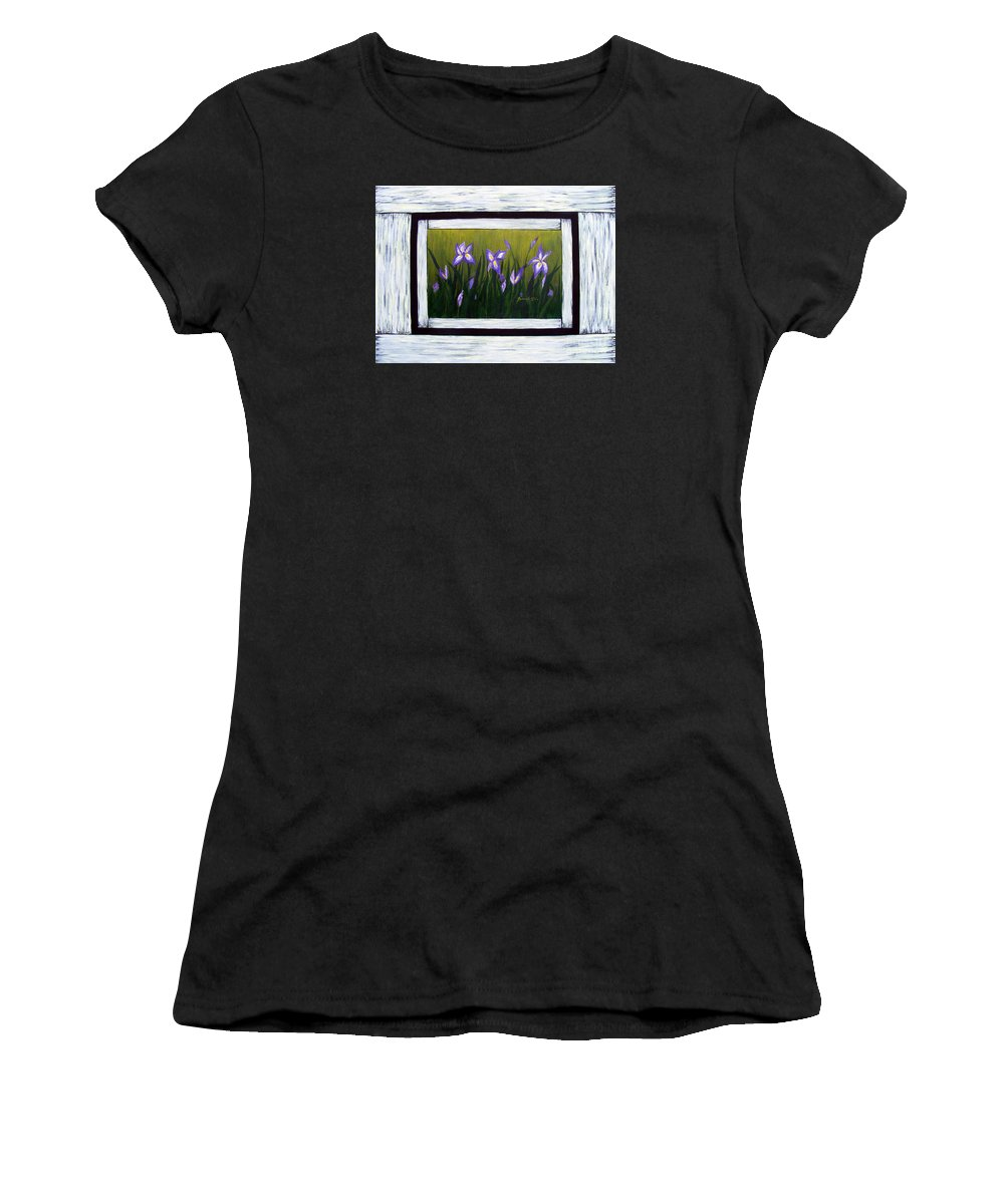 Barbara Griffin Women's T-Shirt featuring the painting Irises And Old Boards - Weathered Wood by Barbara Griffin