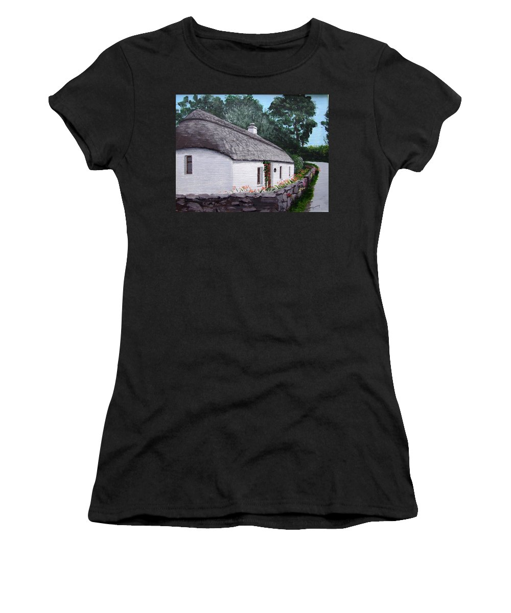 Irish Thatched Cottage Women's T-Shirt (Athletic Fit) featuring the painting Irish Thatched Cottage by Tony Gunning