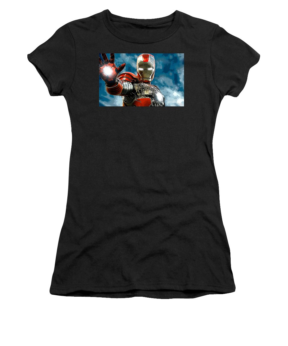 Iron Man Women's T-Shirt (Athletic Fit) featuring the mixed media Iron Man by Marvin Blaine