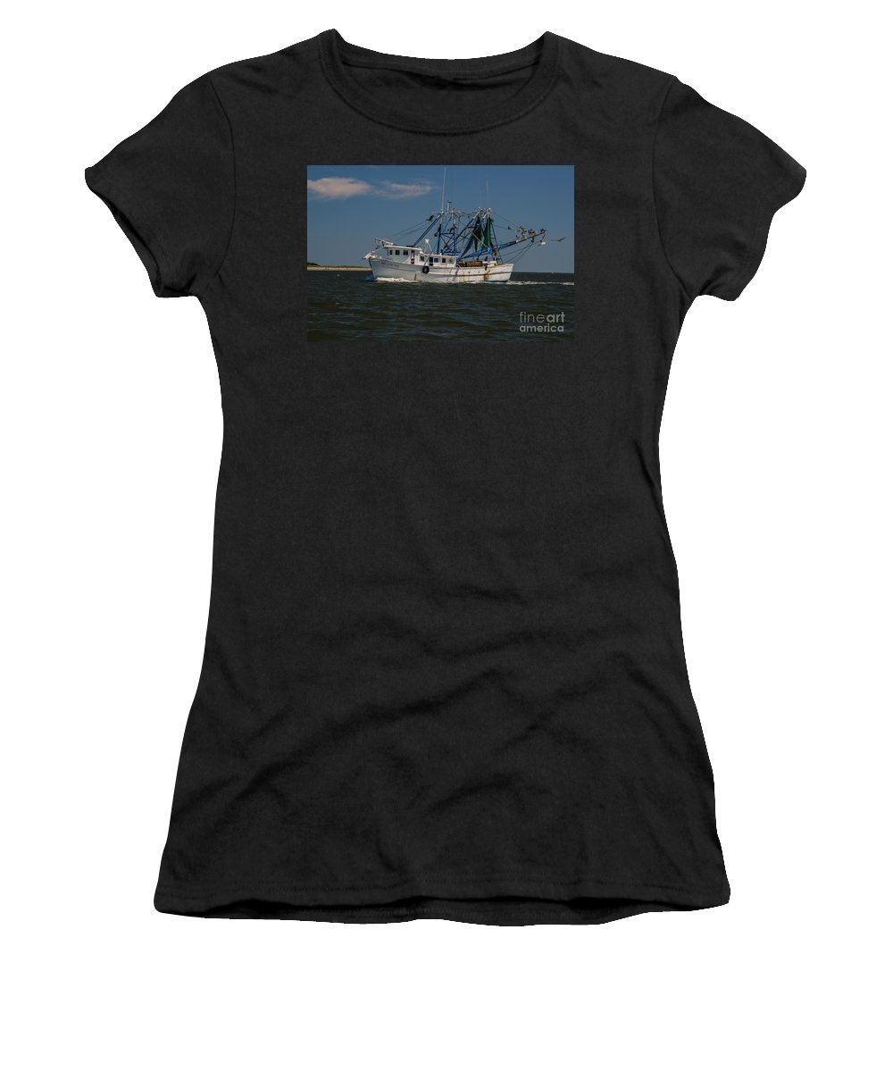 Shrimp Boat Women's T-Shirt (Athletic Fit) featuring the photograph Island Girl by Dale Powell