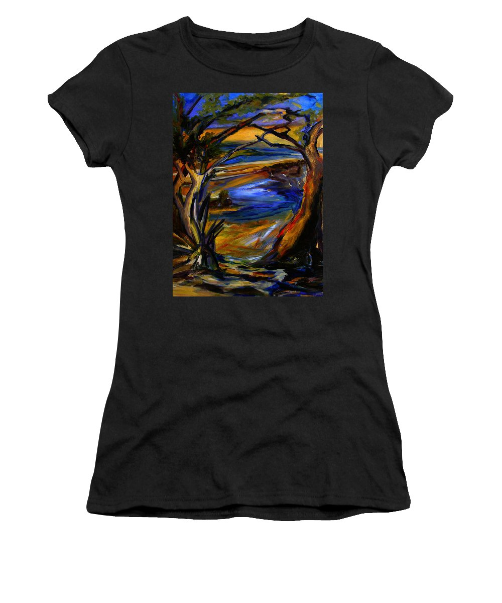 Art Women's T-Shirt (Athletic Fit) featuring the painting Island Waters St. Kitts by Julianne Felton