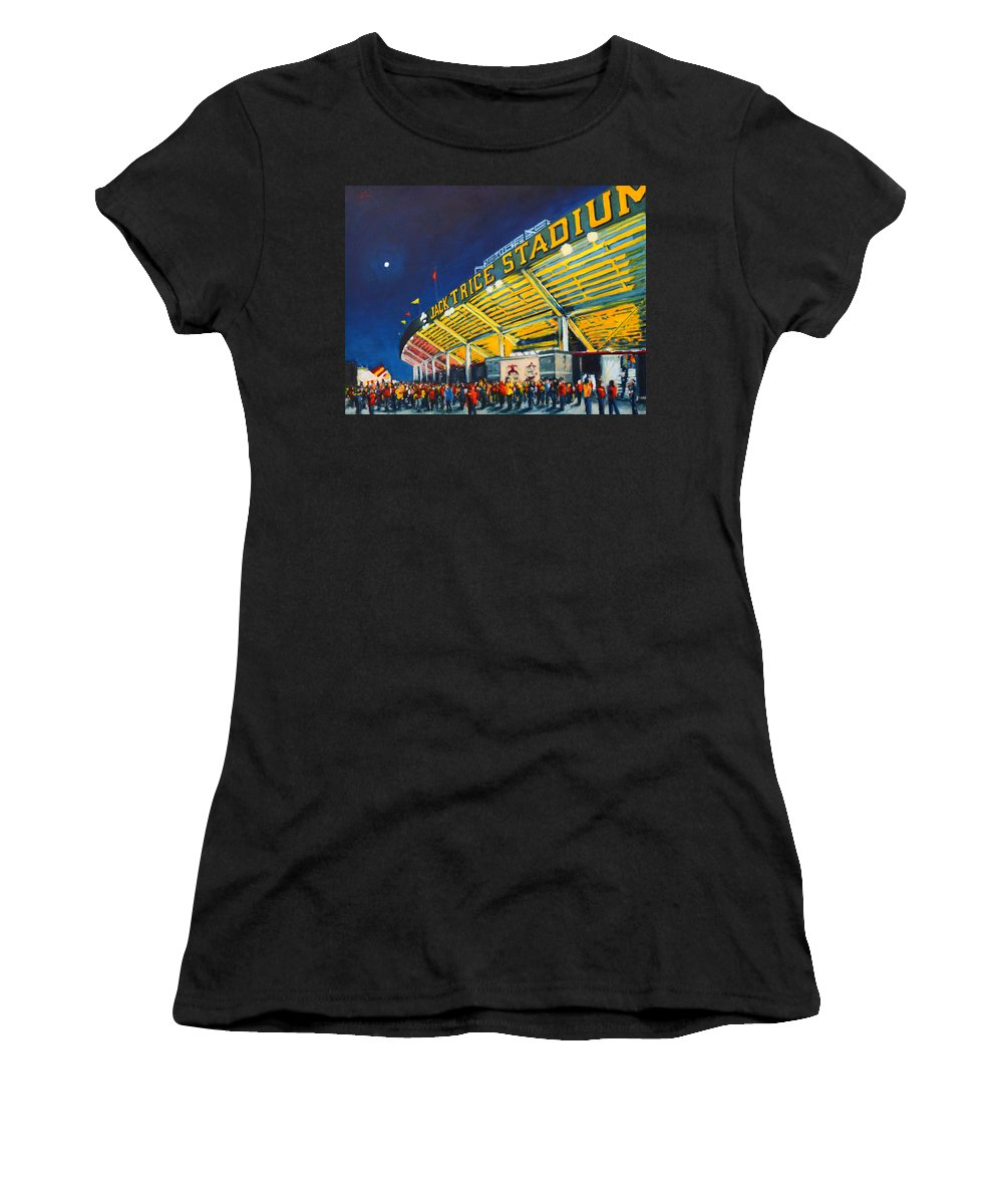 Iowa Women's T-Shirt (Athletic Fit) featuring the painting Isu - Jack Trice Stadium by Robert Reeves