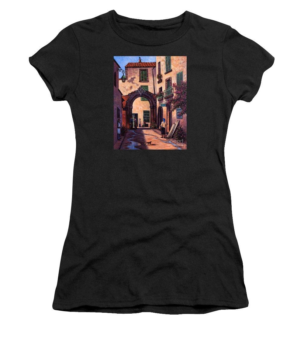 Italian Women's T-Shirt featuring the painting Italian Street by Ricardo Chavez-Mendez