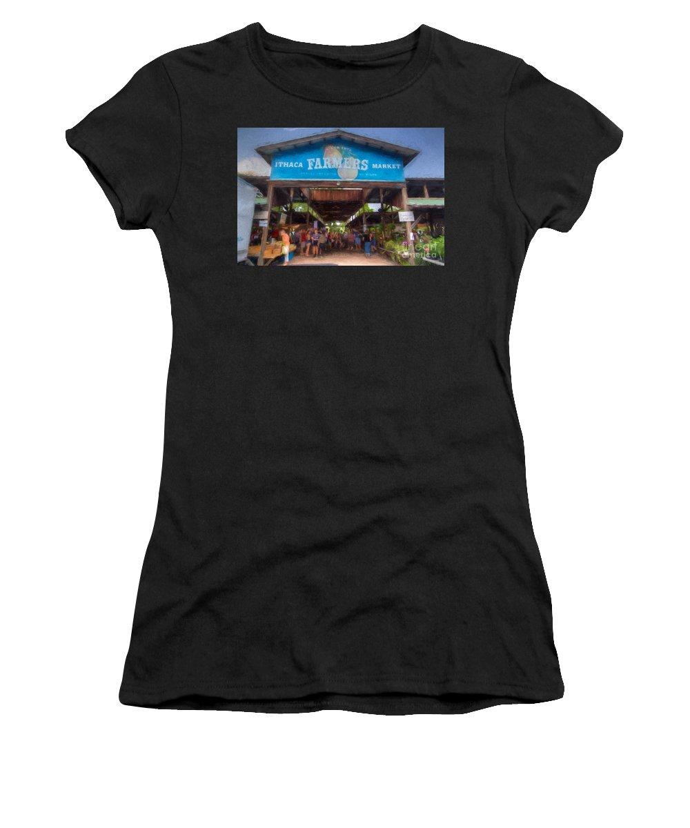 Michele Women's T-Shirt (Athletic Fit) featuring the digital art Ithaca Farmer's Market by Michele Steffey