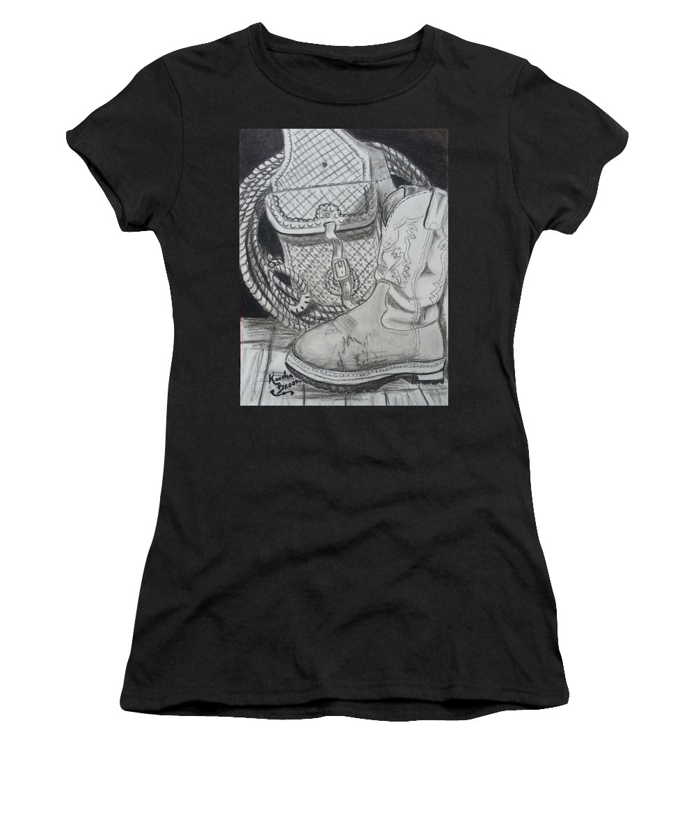Cowgirl Boots Women's T-Shirt featuring the drawing It's A Lifestyle by Kendra DeBerry