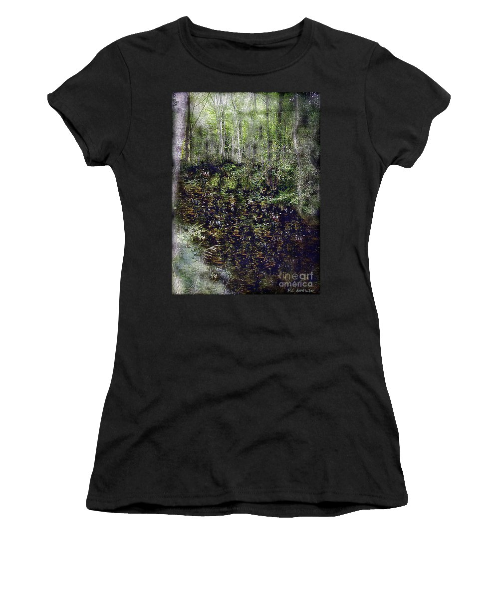 Forest Women's T-Shirt (Athletic Fit) featuring the painting Jack Kell's Woods by RC DeWinter