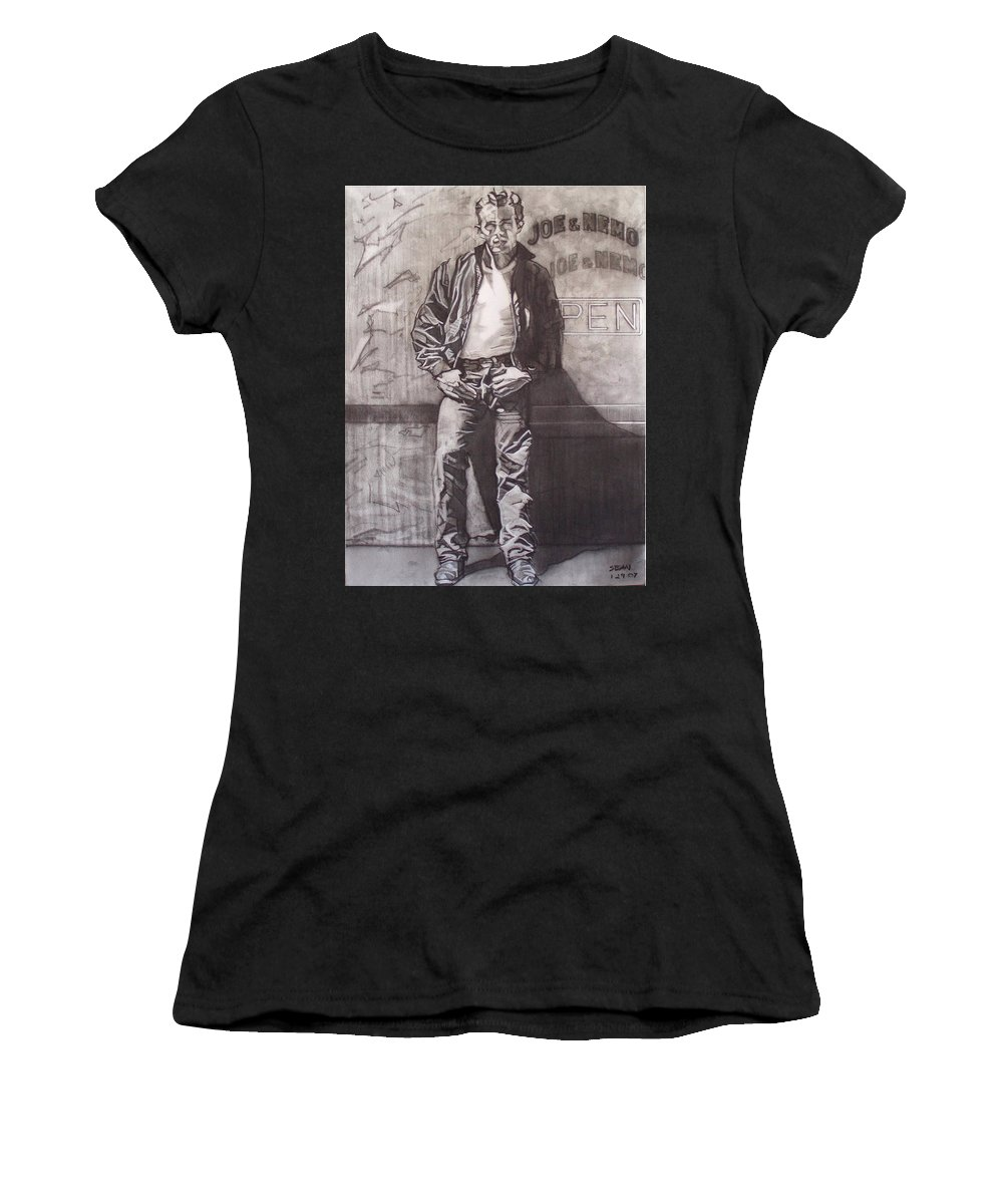 Charcoal; Icon;americana;cool;window;sidewalk;street;rock And Roll;jeans;t-shirt;diner;movie Star Women's T-Shirt (Athletic Fit) featuring the drawing James Dean by Sean Connolly