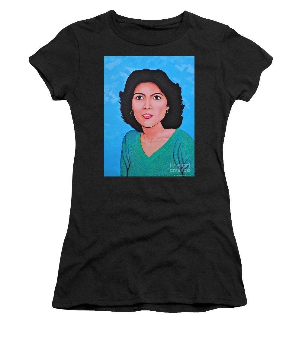 Jasmina Women's T-Shirt featuring the painting Jasmina by Cyril Maza