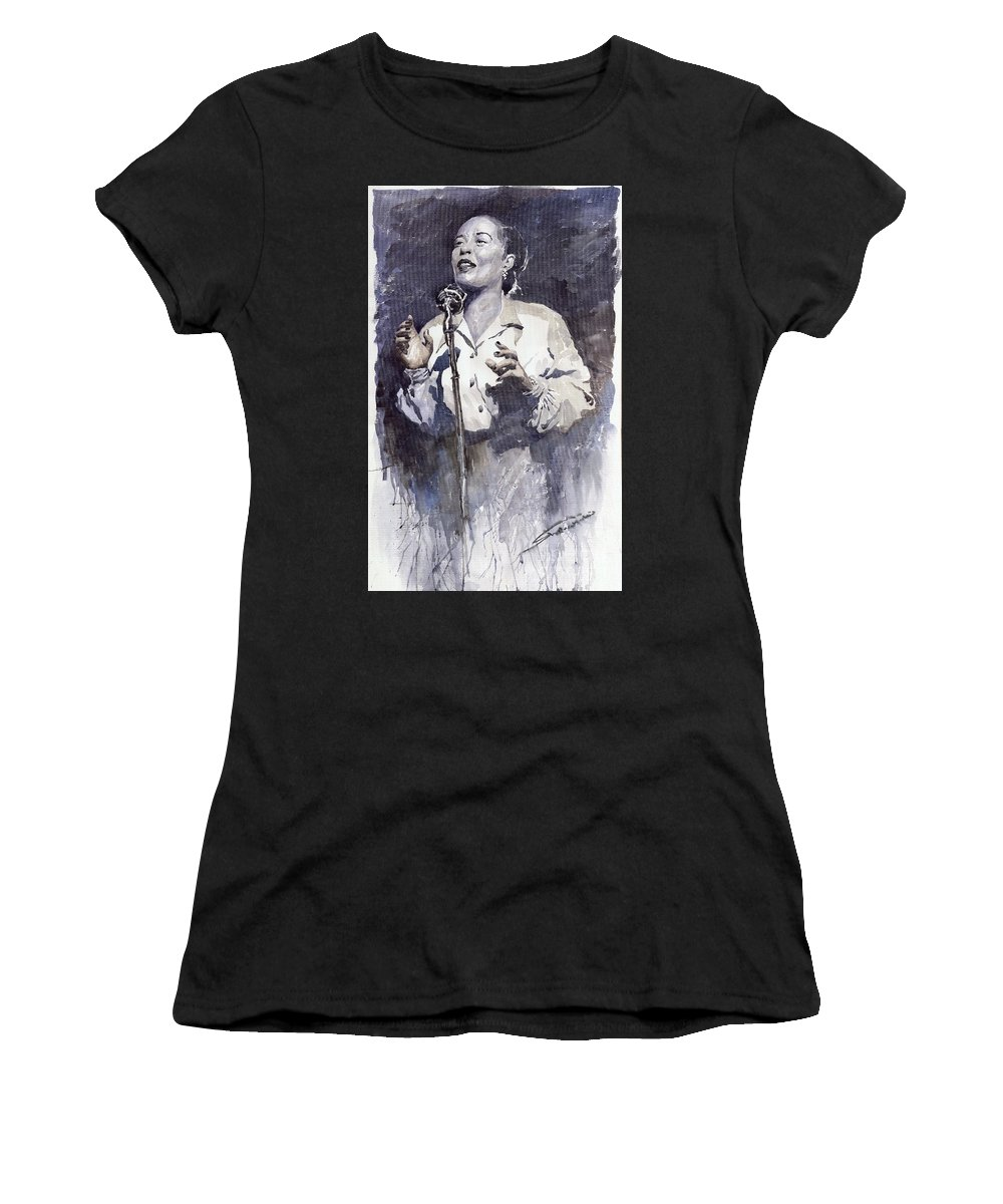 Billie Holiday Women's T-Shirt (Athletic Fit) featuring the painting Jazz Billie Holiday Lady Sings The Blues by Yuriy Shevchuk